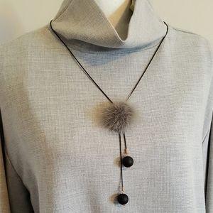 """Faux Fur Gray Pom Pom Necklace - 32"""""""